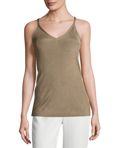 Radiant Shimmer Ribbed Tank, Light Brown