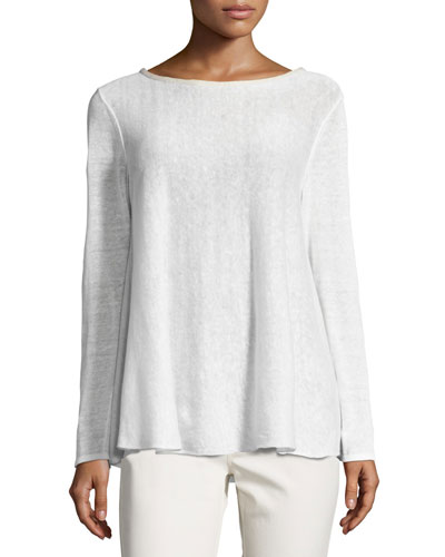 Wispy Linen-Blend Bateau-Neck Sweater, White