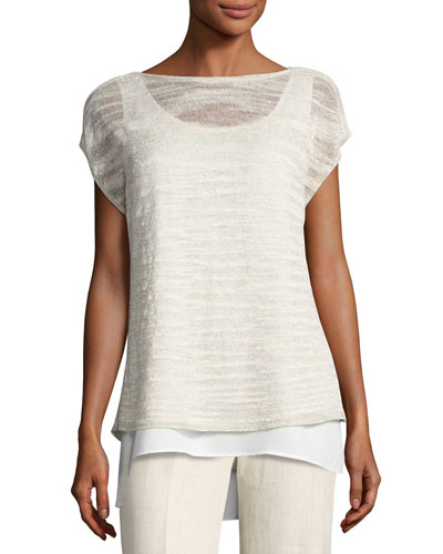 Short-Sleeve Glistening Linen-Blend Layered Top