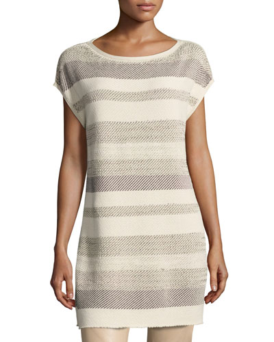 Short-Sleeve Metallic Twill Striped Tunic, Multi
