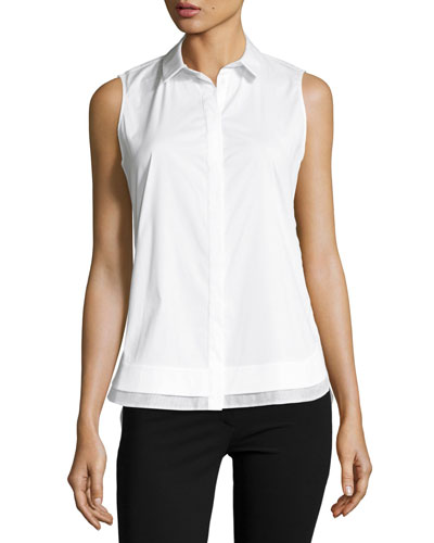 Excursion Sleeveless Stretch-Cotton Top, White