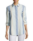 Brody Caribbean Striped Button-Down Blouse