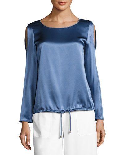 Maxina Long-Sleeve Cold-Shoulder Silk Charmeuse Blouse, Medium Blue