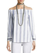 Natayla Striped Stretch-Cotton Off-the-Shoulder Blouse, Multi
