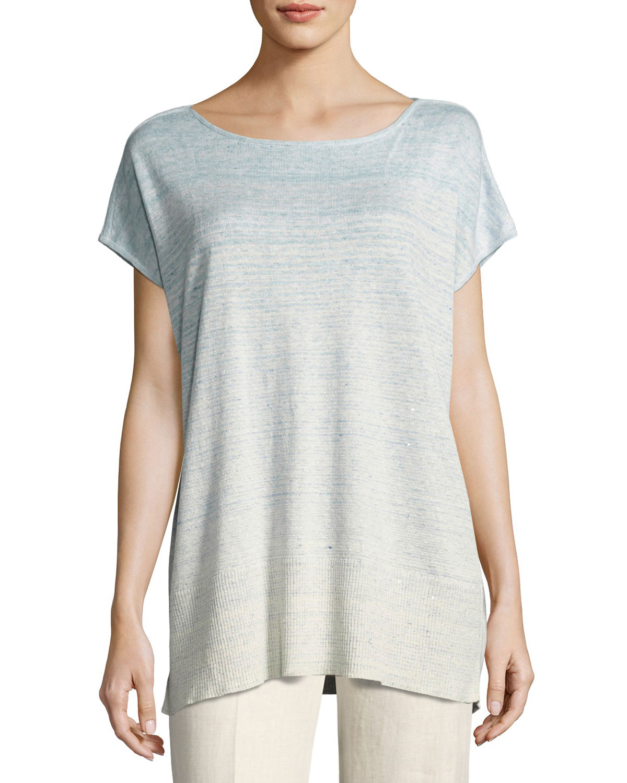Linen-Blend Melange Ombré Sequin Sweater, Light Blue