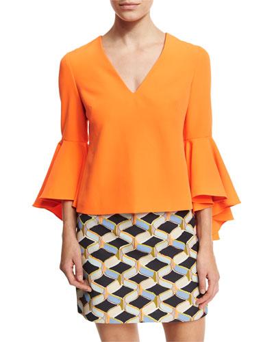 Nicole Bell-Sleeve Italian Cady Blouse, Orange