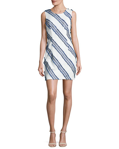 Kendra Diagonal-Striped Mini Sheath Dress, Navy