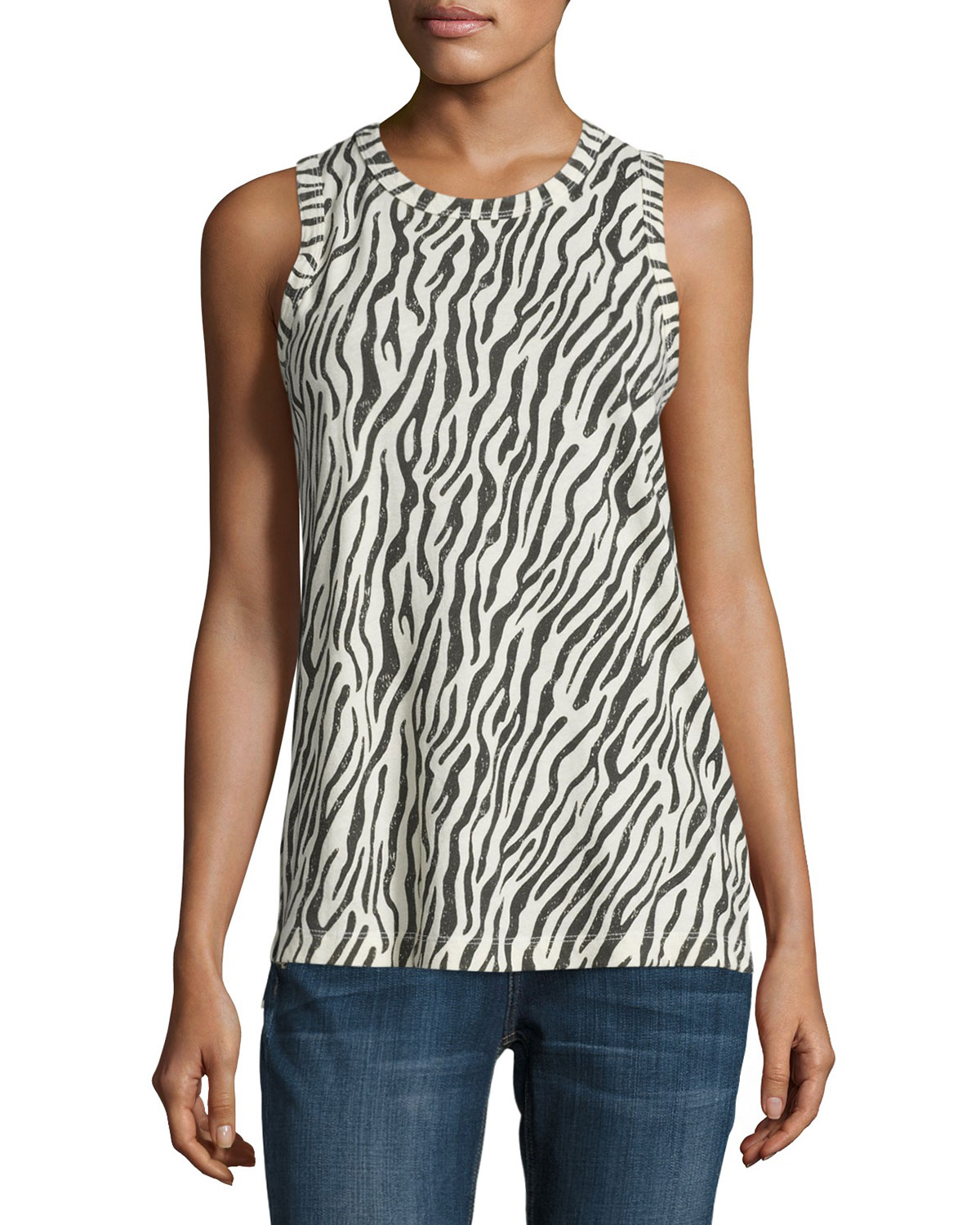 The Muscle Zebra-Print Tank, Dirty White