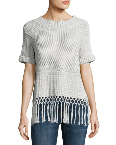 The Peggy Crochet Short-Sleeve Sweater, Gray