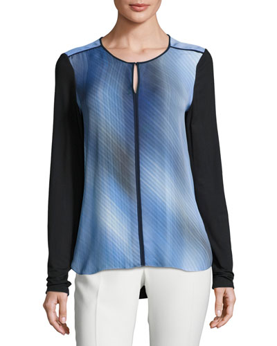 Amenia Colorblocked Fluid Silk Crepe Blouse, Multi