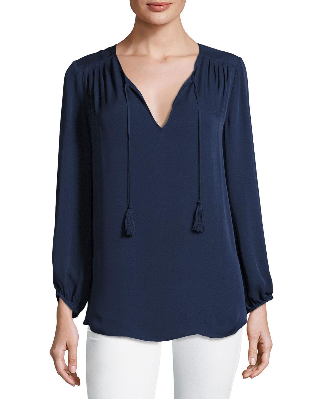 Odelette Split-Neck Silk Top, Blue