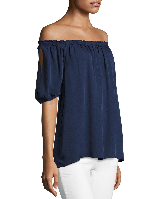 Kendal Off-the-Shoulder Silk Top, Blue