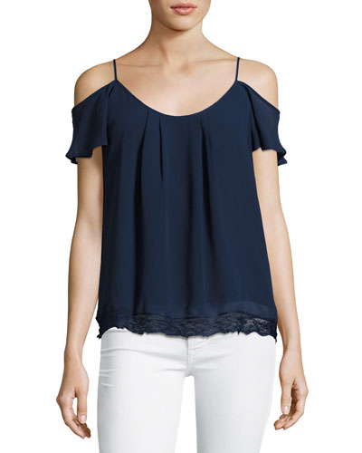 Adorlee Cold-Shoulder Lace-Hem Silk Top, Blue