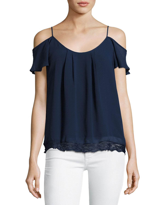 Adorlee Cold-Shoulder Lace-Hem Silk Top, Blue