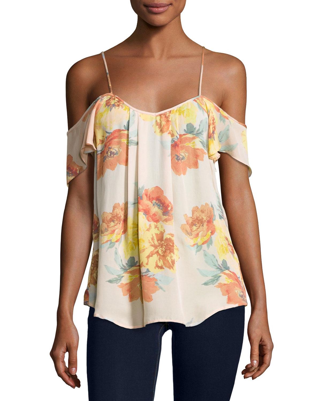 Adorlee Cold-Shoulder Floral-Print Silk Top, Orange