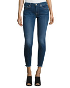 The Ankle Skinny Jeans with Raw Hem, Indigo