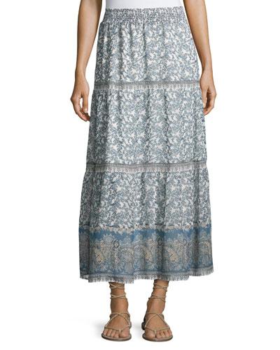 Kenath Floral-Print Silk Prairie Skirt, White/Blue