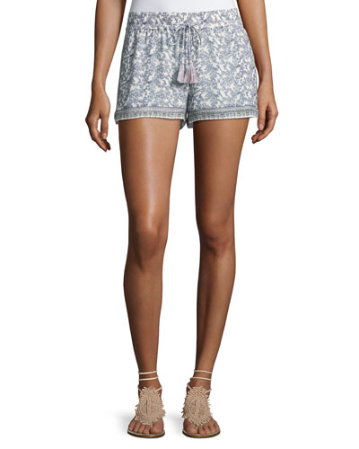 Zaha Floral-Print Drawstring Shorts, White/Blue