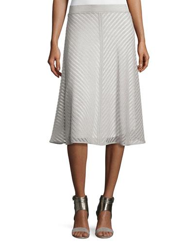 Sheer Striped A-line Skirt