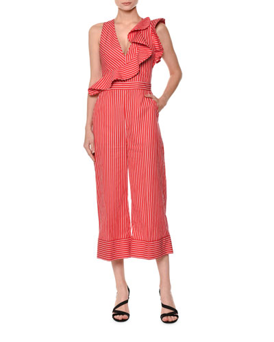 Sleeveless Striped Ruffle Jumpsuit
