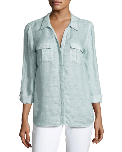 Booker Linen Safari Shirt, Blue