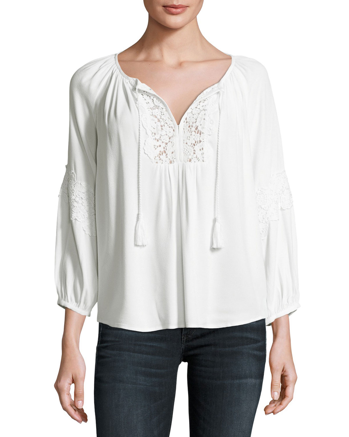 Orval Lace-Trim Peasant Top, White