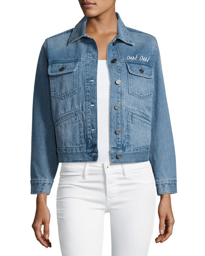 Runa Embroidered Denim Jacket, Blue