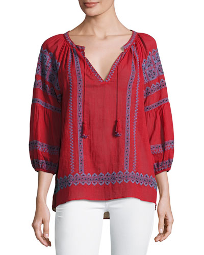 Gauge Embroidered Peasant Top, Red