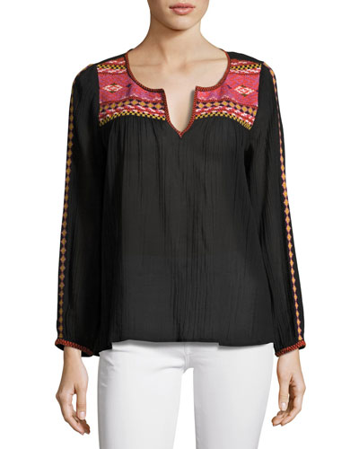 Cosima Embroidered Peasant Top, Black