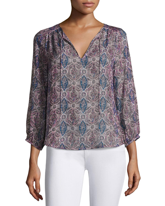 Odelette Split-Neck Printed Silk Top, Multipattern.