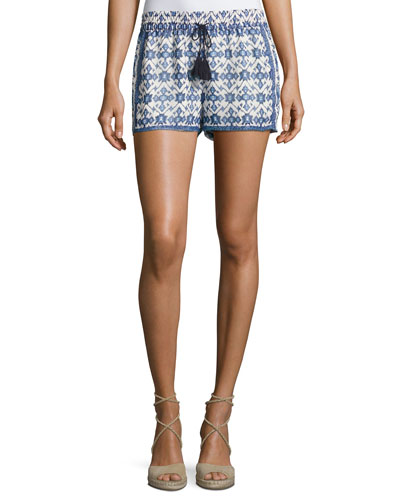 Zaha Geo-Print Drawstring Shorts, White/Blue