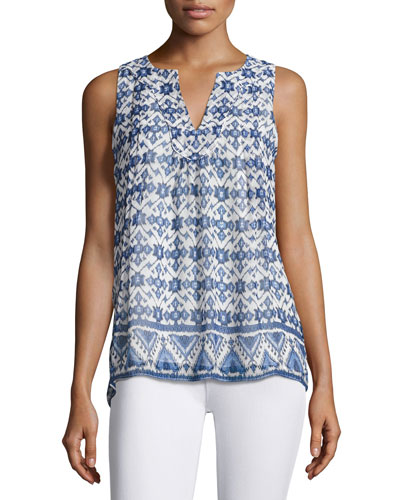 Virginie Sleeveless Printed Shirt, White/Blue