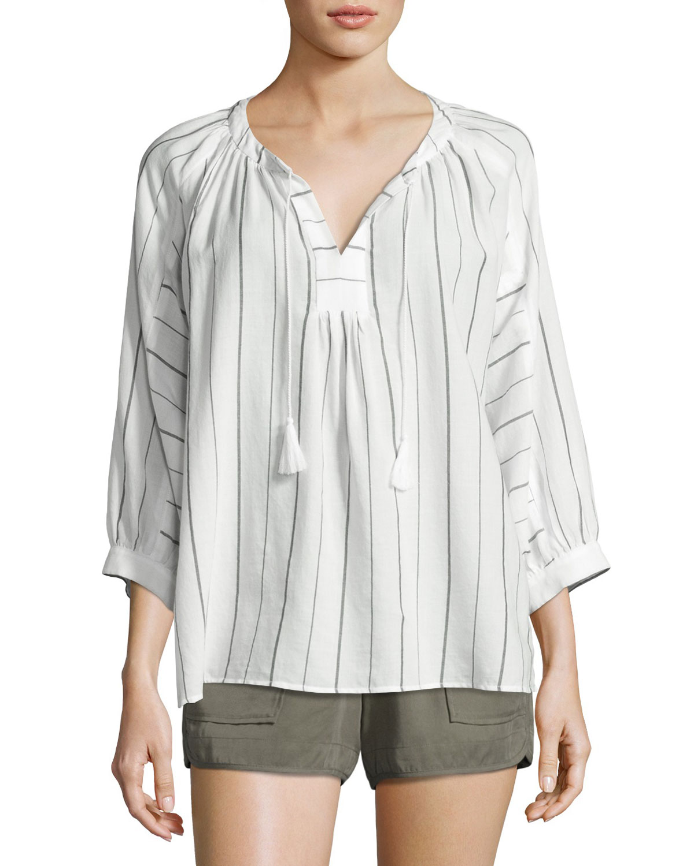 Toluca B Striped Cotton Top, White