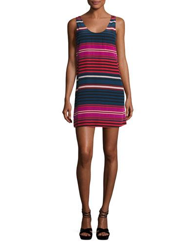 Dawna Striped Silk Tank Dress