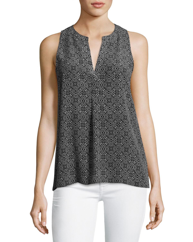 Aruna Sleeveless Printed Silk Top, Gray
