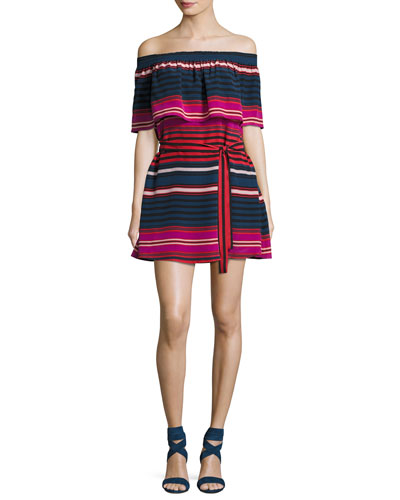 Arla Striped Silk Off-the-Shoulder Mini Dress, Blue/Red/Magenta