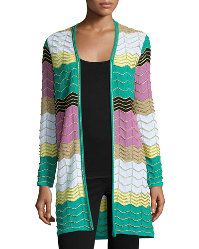 Long Colorblocked Zigzag Cardigan, Multi