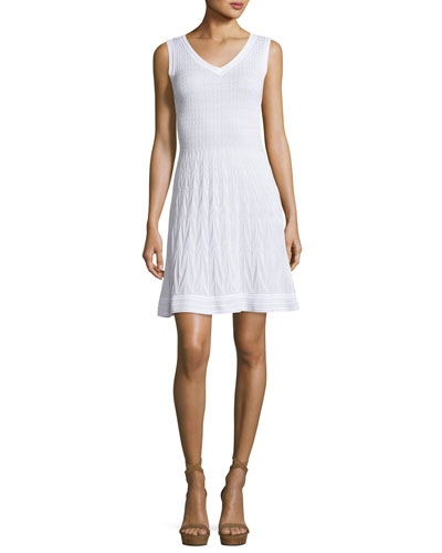 Sleeveless Solid Zigzag Knit Fit-&-Flare Dress, White