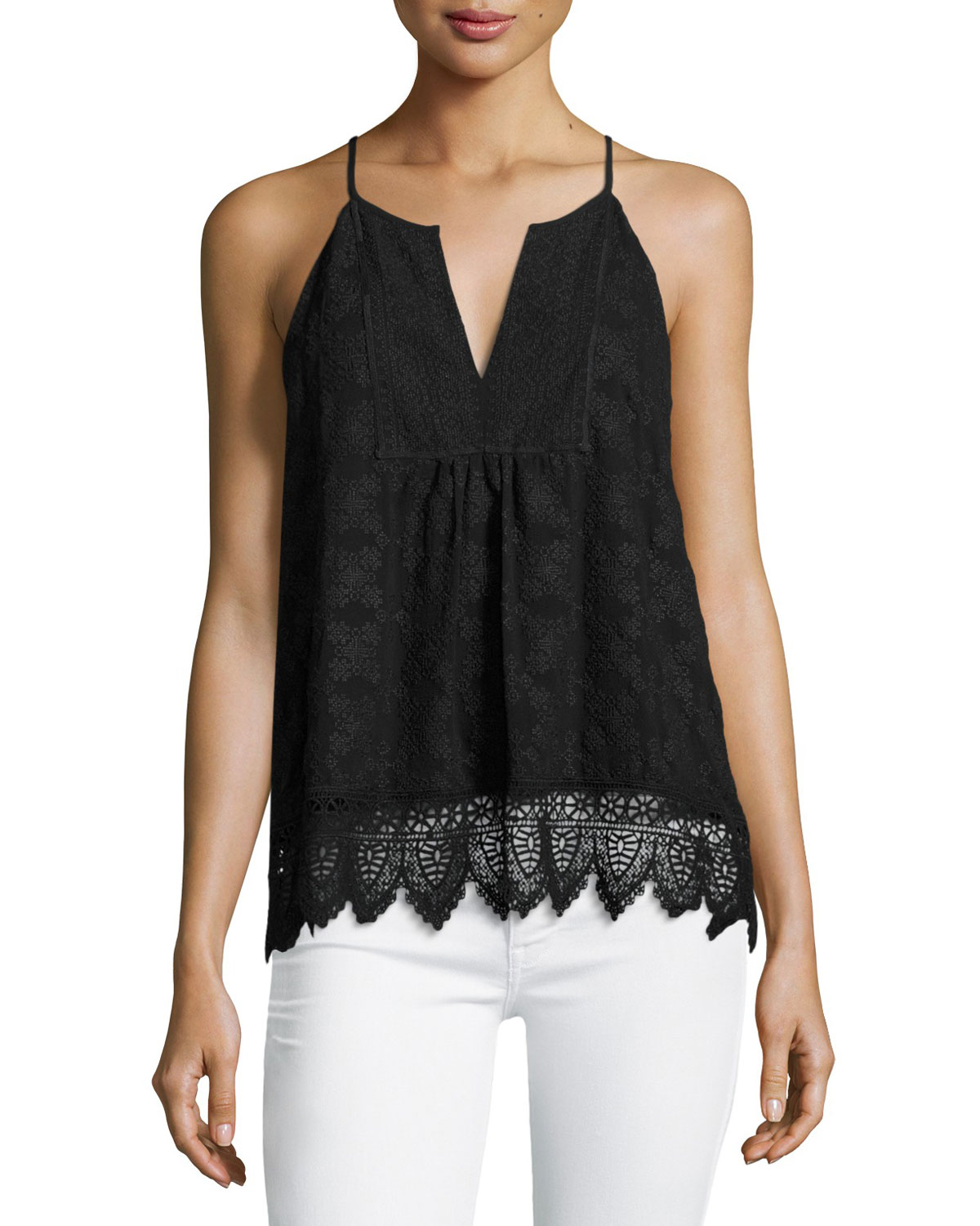 Ember Sleeveless Lace Top, Black