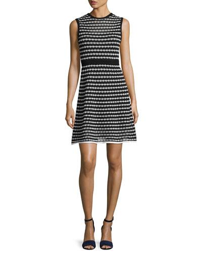 Sleeveless Triangle-Striped A-Line Dress, Black Pattern