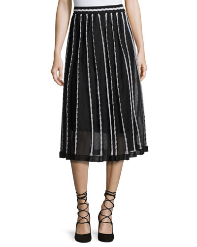 Triangle-Striped A-Line Midi Skirt, Black Pattern