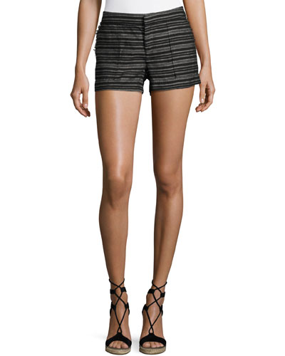Chalina Striped Linen Shorts, Black Pattern