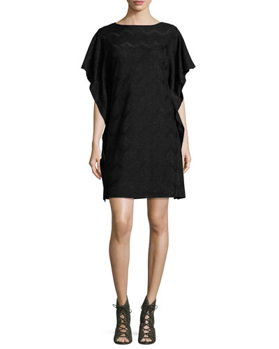Ruffled Dolman-Sleeve Metallic Jersey Dress, Black