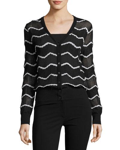 Semisheer V-Neck Zigzag Cardigan, Black