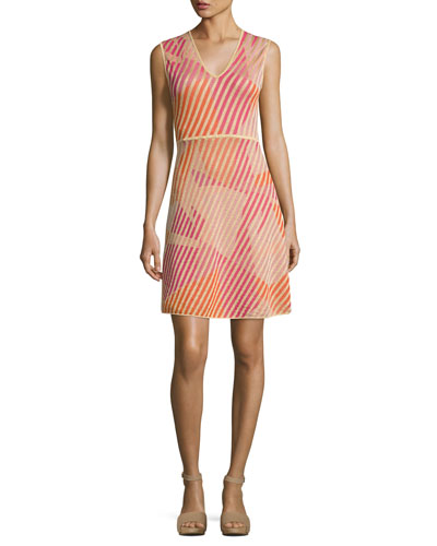 Sleeveless Geometric-Patterned Knit Dress, Multi