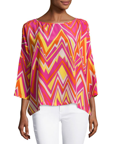 3/4-Sleeve Retro Zigzag Silk Blouse, Multi