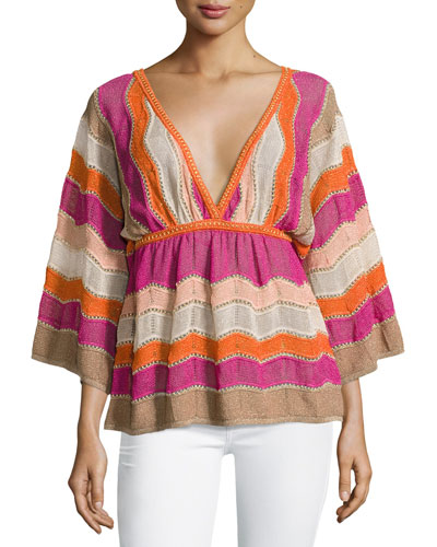 3/4-Sleeve Metallic Zigzag Kimono Top, Multi