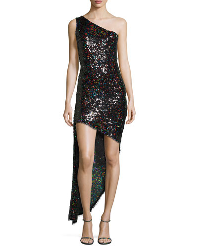 Blanca Sequined One-Shoulder High-Low Dress, Multi