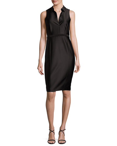 Collared Satin Cocktail Dress, Black