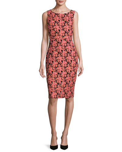Sleeveless Floral Jacquard Sheath Dress, Multicolor